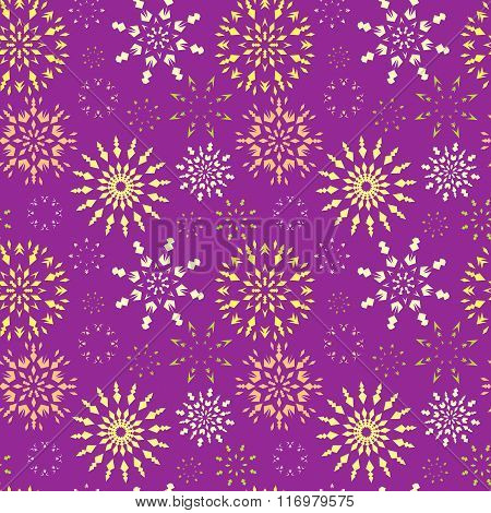 Christmas seamless pattern. Light color snowflake signs on bright, lilac, violet background. Winter