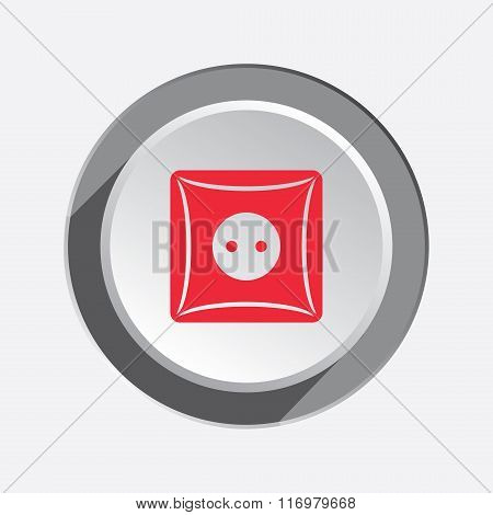 Electric socket base icon. Euro standard. Power energy symbol. Red sign on three-dimensional white-g
