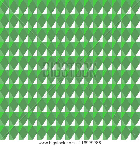 Seamless geometric rhombic pattern. Convex shine texture with glitters, sparkles on rhombs. Green co