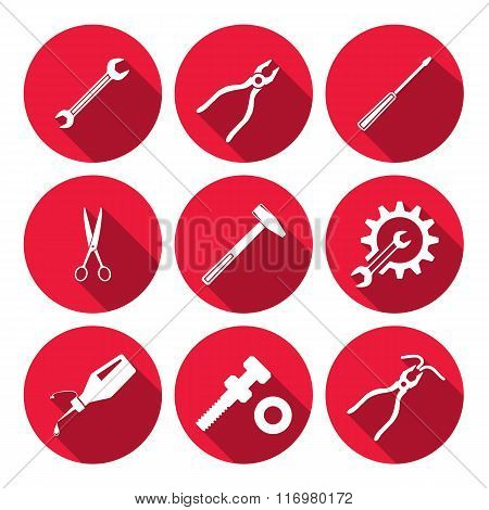 Tools icons set. Glue, pliers, tongs, wrench key, cogwheel, hammer, screw bolt, nut, scissors. Repai