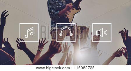 Music Multimedia Entertainment Headphone Volume Concept