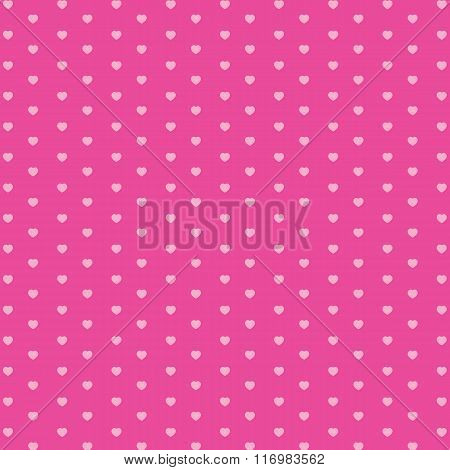 Valentine's Day and pink heart on pink background. Vector Holiday and pink heart background.