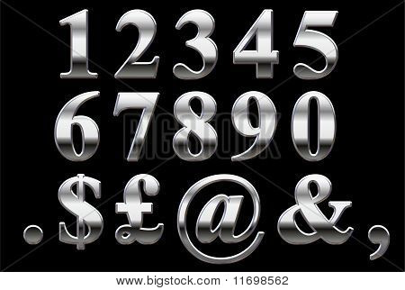 Chrome Numbers on a black background