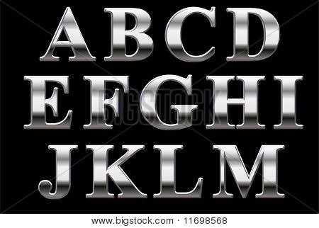 Chrome letters on a black background