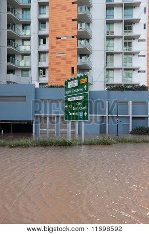 Brisbane, Australia - Jan 13 : Flood  Brisbane City Queensland Declared Natural Disater January 13,