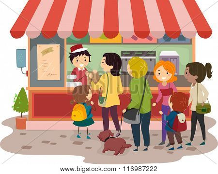 Illustration of People Lining in Front of a Store