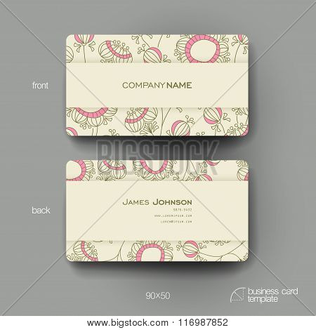 Business card vector template with floral abstract background