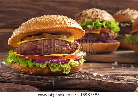 Homemade Burger Closeup On Wooden Background