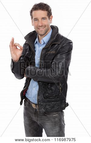 Man showing a positive gesture