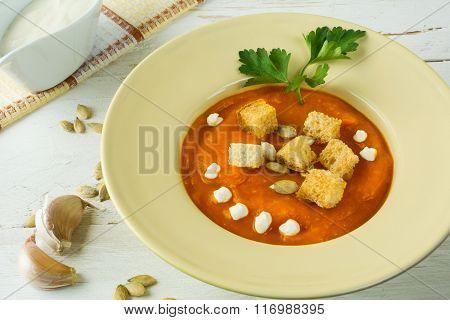 Pumpkin Soup With Garlic Croutons