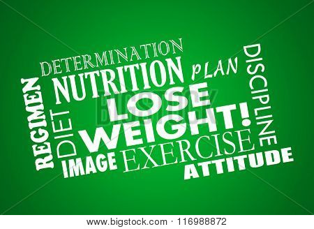 Lose Weight word collage with diet, exercise, fitness, plan, nutrition, determination, attitude and body image