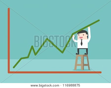 Businessman Make Growing Graph