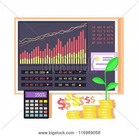 Invest in Shares Concept Icon Flat Design