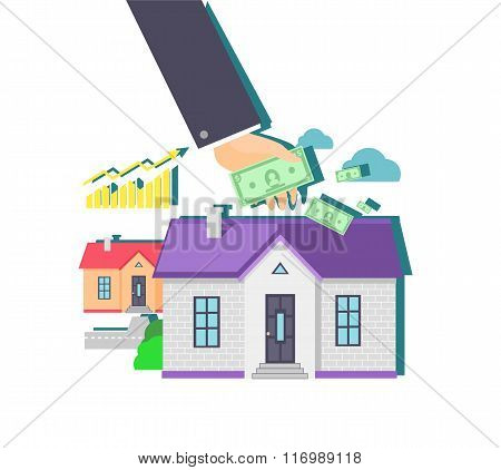 Invest in Real Estate Icon Flat Design