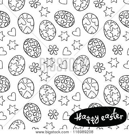 Happy easter. Easter eggs. Stars, hearts and flowers, daisies. Vector seamless pattern (background).