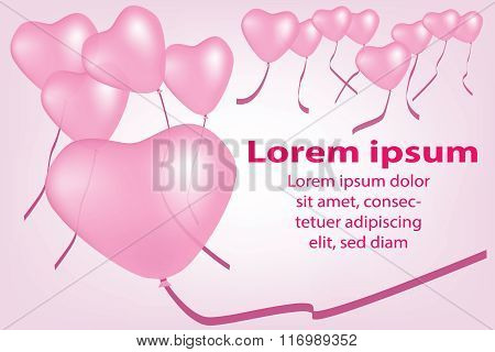 Valentine's day background with heart balloons.