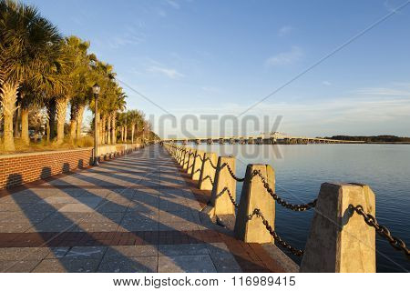 View of downtown waterfront of Beaufort, South Carolina at sunset