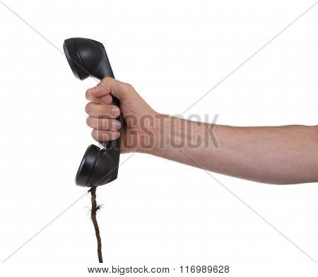 Male Hand Holding Retro Landline Telephone