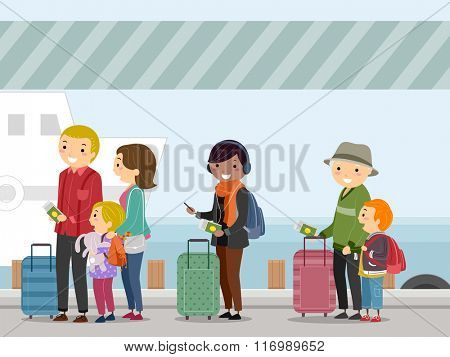 Illustration of Passengers Waiting to Board a Ship