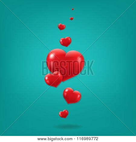 Red Hearts Card With Gradient Mesh, Vector Illustration