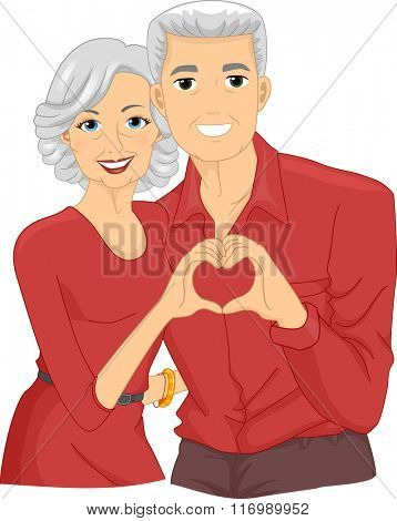 Illustration of A Happily Married Senior Citizen Couple Forming a Heart Sign