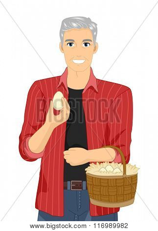 Illustration of a Happy Senior Citizen After Collecting Eggs From His Farm