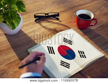 South Korea National Flag Studying Reading Book Concept