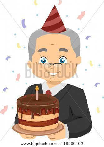 Illustration of a Happy Senior Citizen Carrying a Retirement Cake