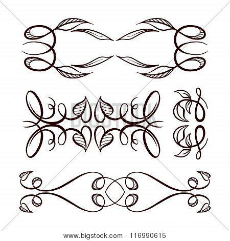 Vector Calligraphy Elements Set.