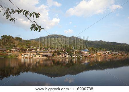 Ban Rak Thai , Reflection Of The Village In A Lake , Meahongson , Thailand