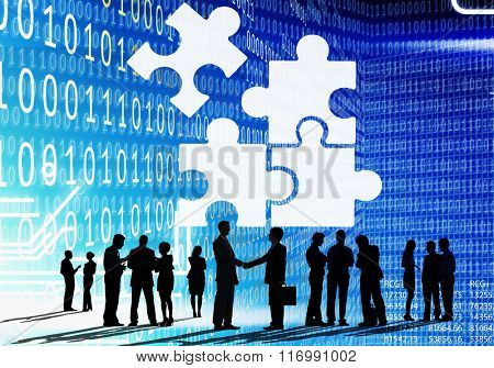 Corporate Jigsaw Puzzle Unity Team Collaboration Concept