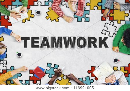 Team Building Collaboration Connection Corporate Teamwork Concept