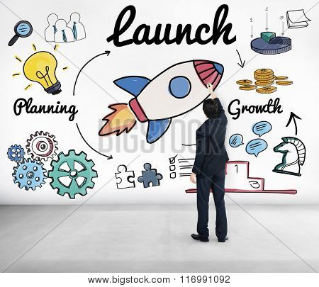 Launch Start up New Business Begin Concept