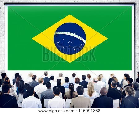 Brazil National Flag Seminar Business People Concept