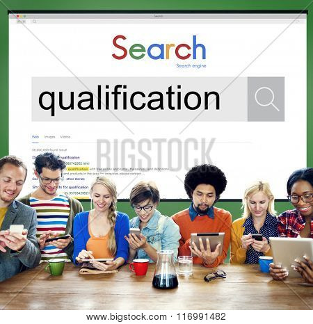 Qualification Certificate Diploma Qualify Suitable Concept