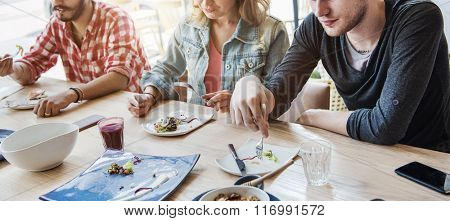 Friends Hangout Relaxing Eating Salad Meeting Concept