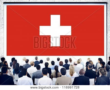 Switzerland National Flag Seminar Business Concept