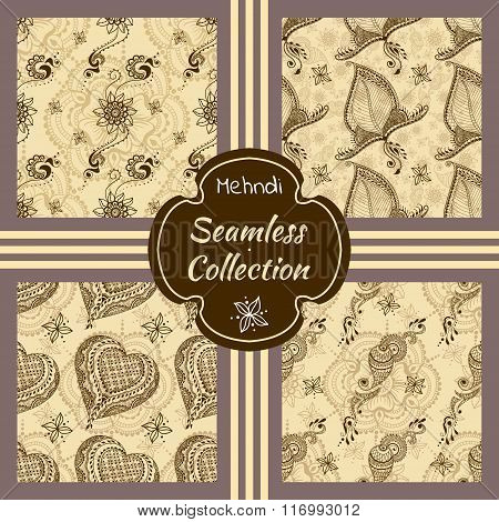 Set Of Vector Seamless Textures With Ornaments In Indian Style