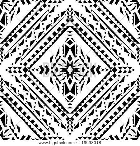 Vector Seamless Texture. Black And White Tribal Geometric Pattern