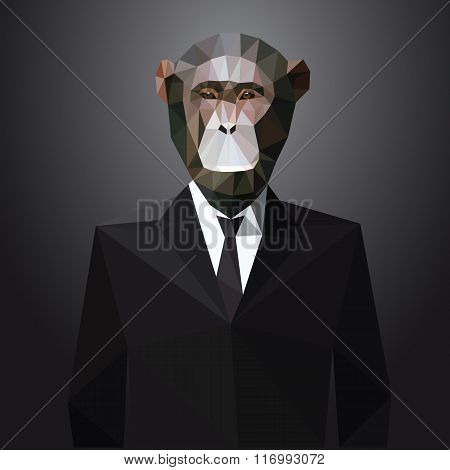 Illustration of Monkey in jacket. Vector elements.