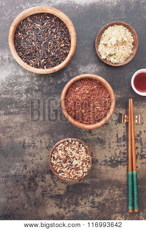 Different kinds of rice and chopstick