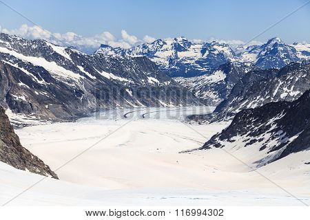 Aletsch Glacier View From Jungfraujoch, The Highest Railway Station In Europe