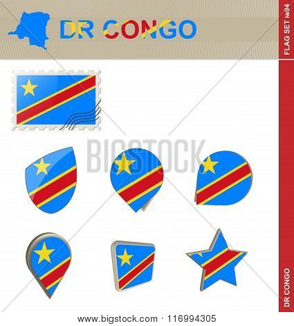 Democratic Republic Of The Congo Flag Set, Flag Set #94