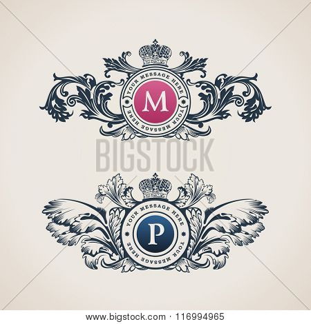 Vintage Decorative Elements Flourishes Calligraphic Ornament. Letter M, P. Elegant emblem template monogram luxury frame. Royal line logo. Vector sign for restaurant, boutique, heraldic, cafe, hotel