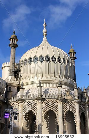 Beautiful minaret of the Royal Pavilion from Brighton