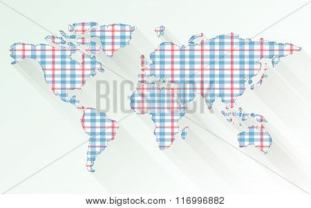 Fabric Texture World Map And Background Vector