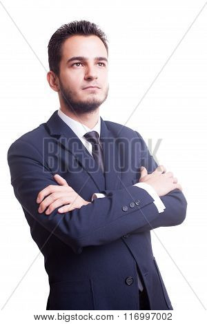 Businessman Looking Up On White Background