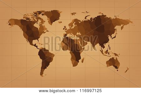 The Brown World Map Abstract Background Vector