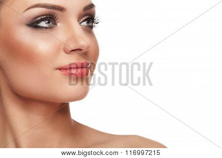 Smiling Woman With Perfect Skin And Make Up