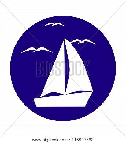 White sailboat and seagulls